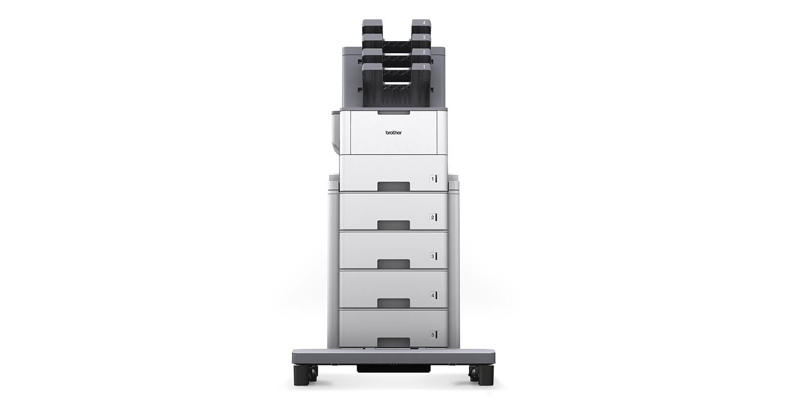 Brother HL-L6400DWT printer with extra modular units and paper trays