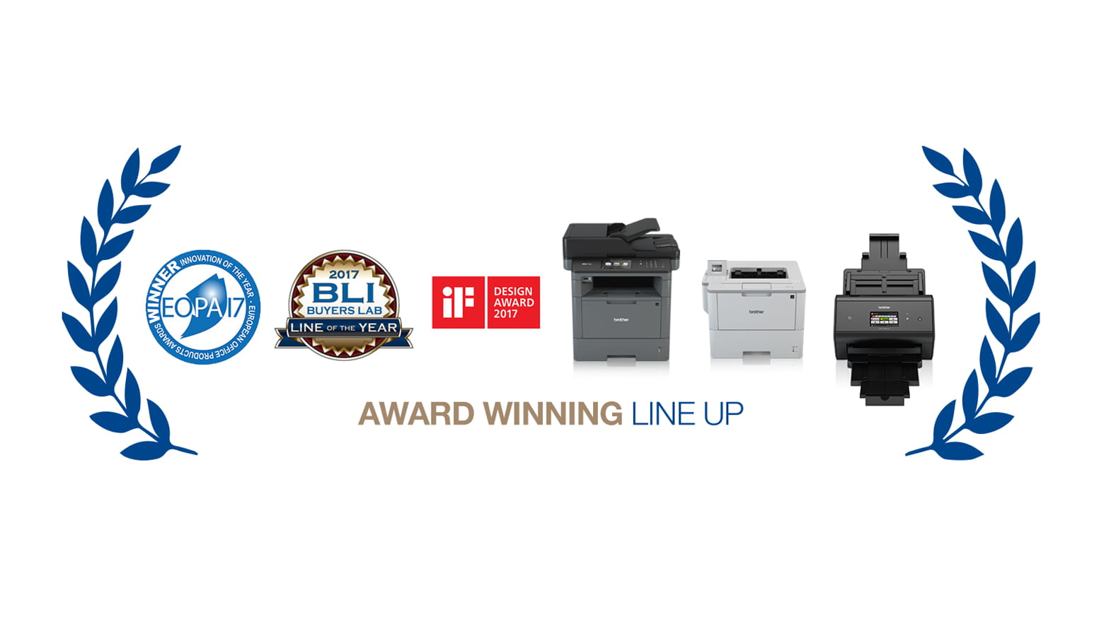 Image shows award winning line up of Brother products