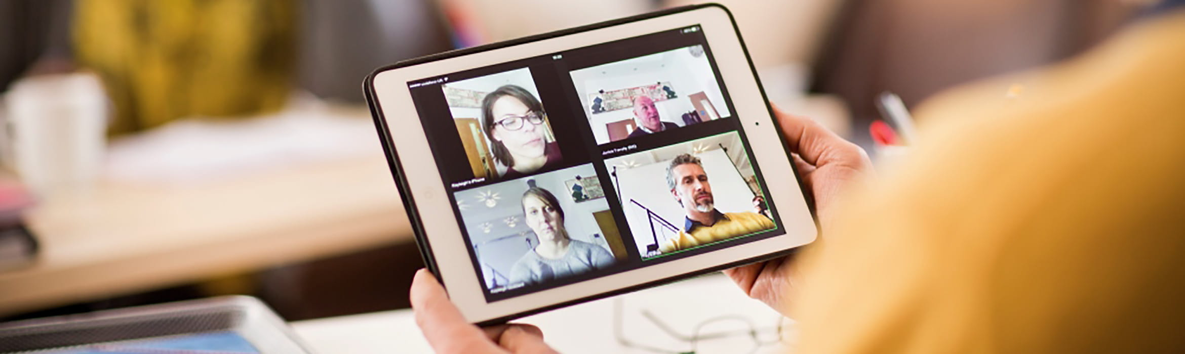 Close-up of Brother Omnijoin video and web conferencing being used on a tablet device