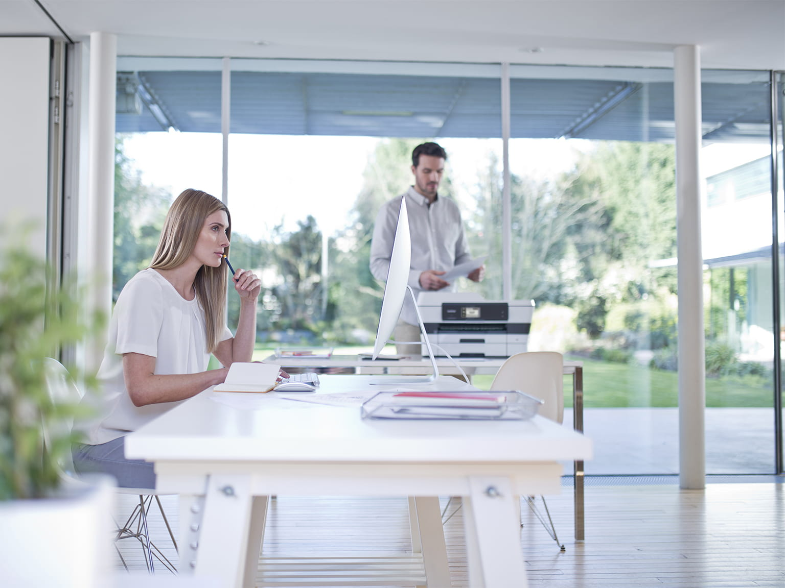Home Office Man Woman Printer Table