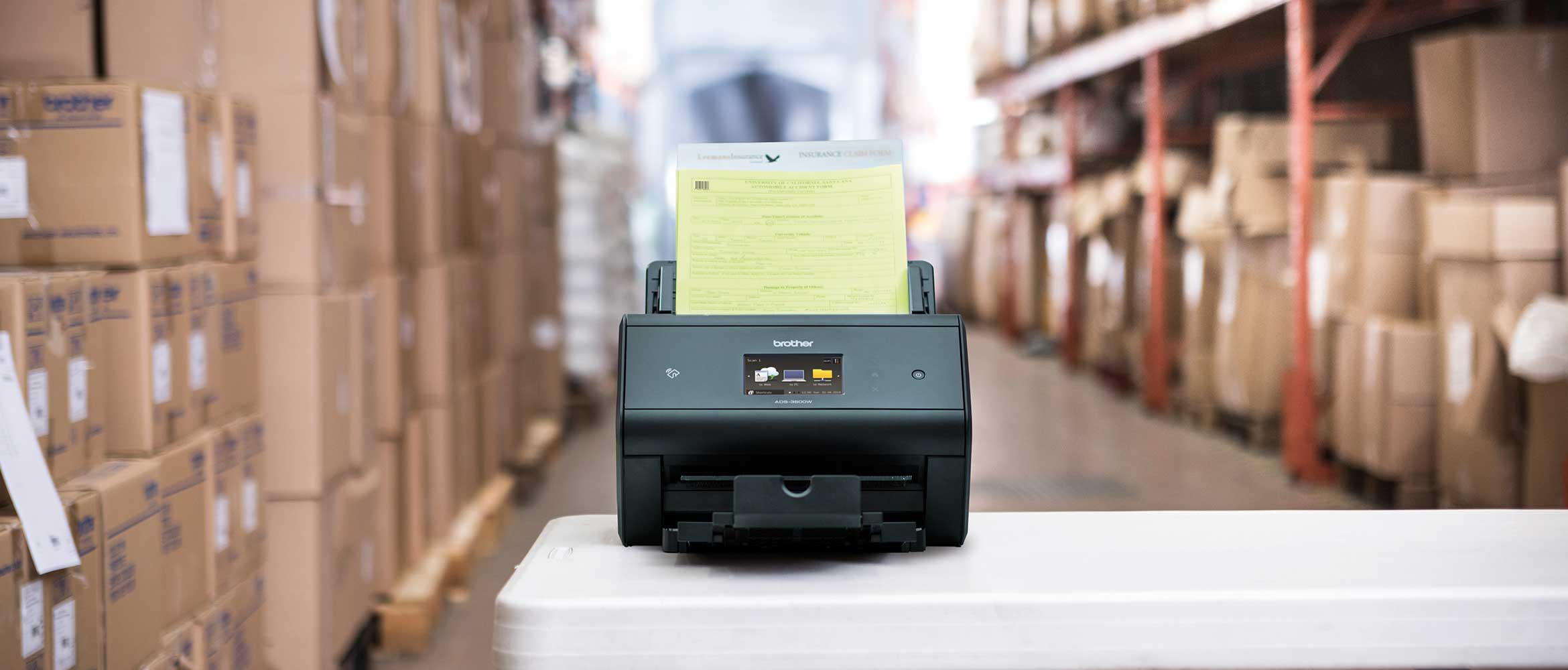Scanner with documents in a warehouse