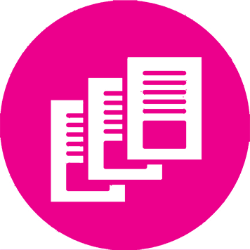 Bright pink image of three pages stacked on top of each other for Brother's Inkbenefit landing page