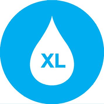 Bright blue image of a white waterdroplet with the letters XL inside for Brother's Inkbenefit landing page