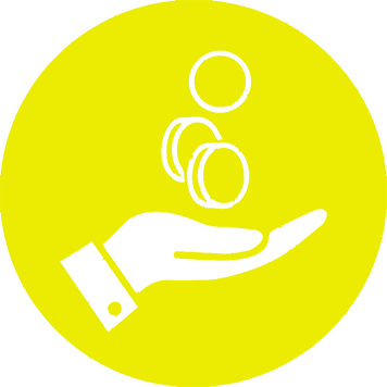 Bright yellow image of coins falling into a hand for Brother's Inkbenefit landing page