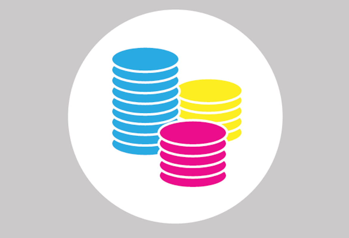 Stacks of bright blue yellow and pink coins within a white circle with grey background for Brother's Inkbenefit landing page