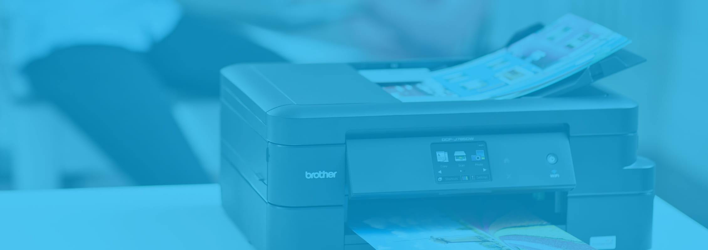Brother Inkbenefit printer with blue overtone banner