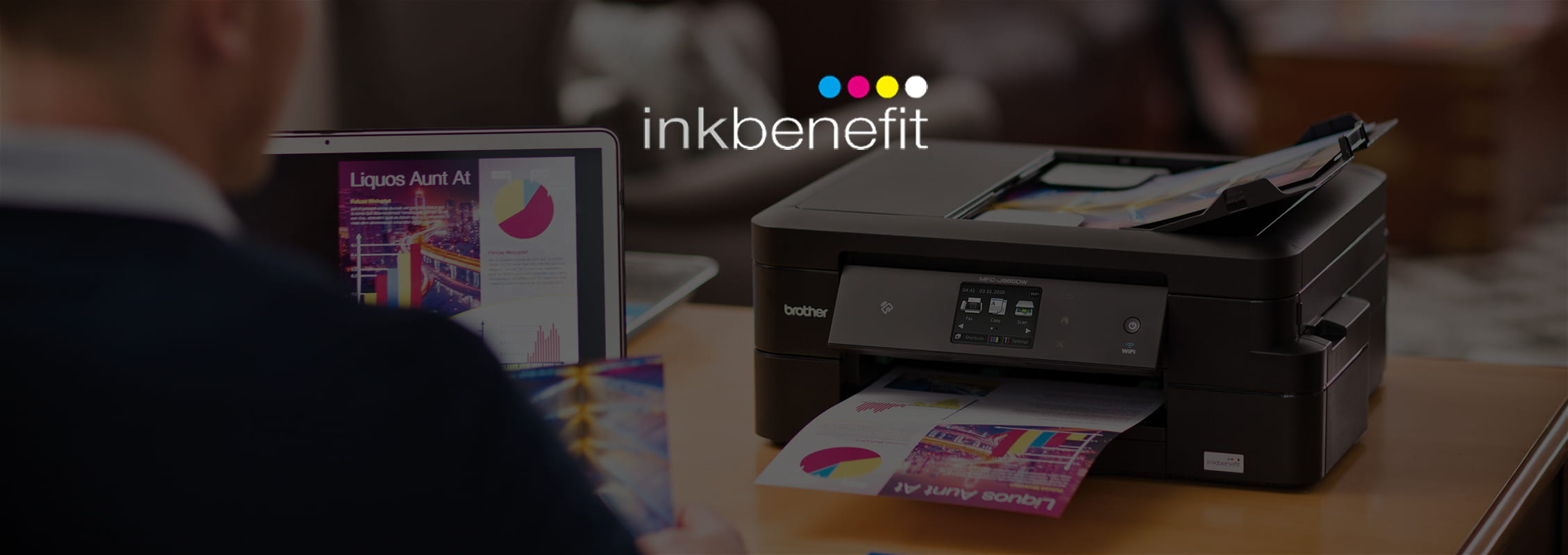 Inkbenefit logo with Brother printer in the background