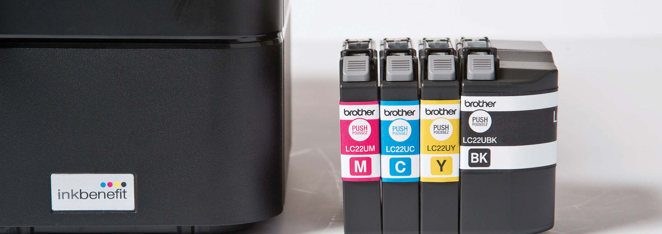 Zoomed image of Brother Inkjet printer and ink cartridges