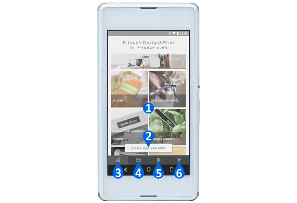 Android smartphone showing P-touch Design&Print app overview main features