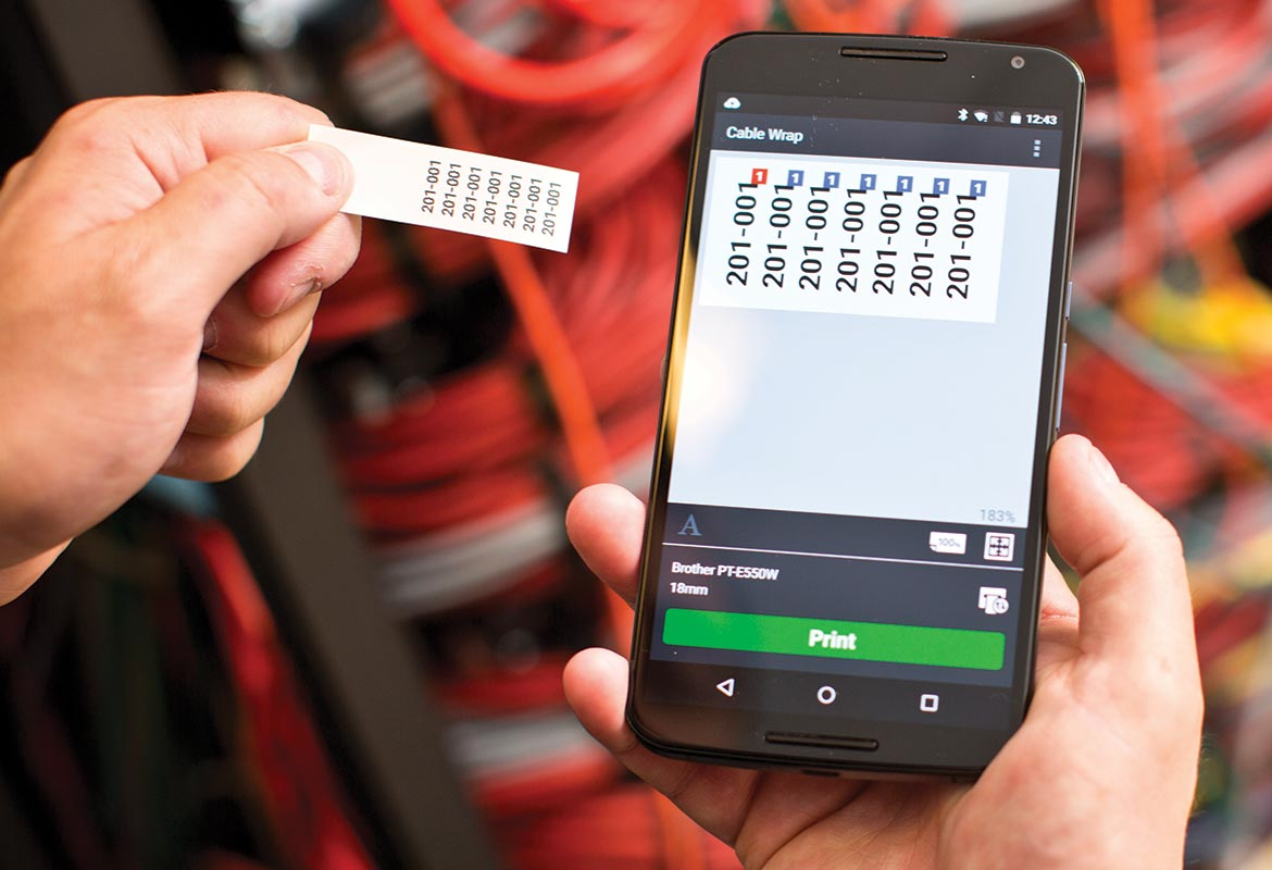 Cable label tool app with printed label to the side