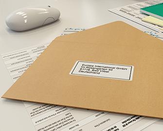 Address label on envelope printed on Brother label printer