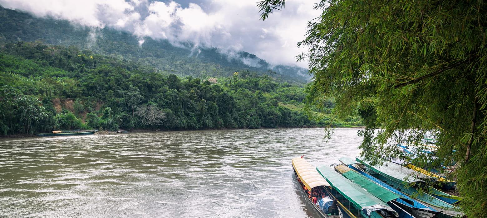 Boats River Rainforest Jungle Clouds