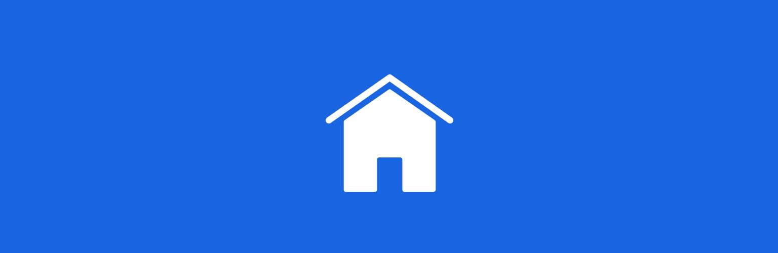 Family House White Icon Blue Background
