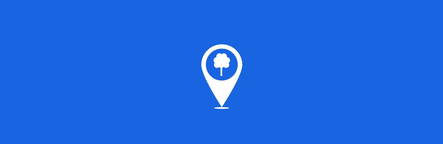 Tree Mark White Icon Blue Background
