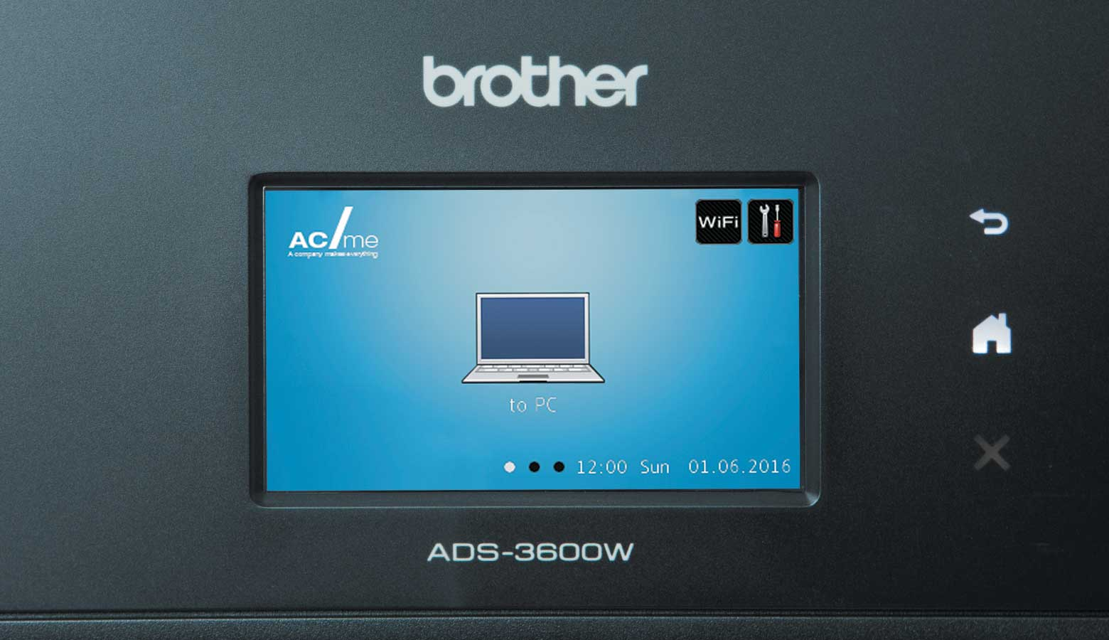Touchscreen with blue background and laptop