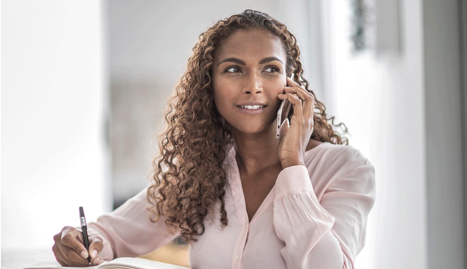 Long hair women on phone