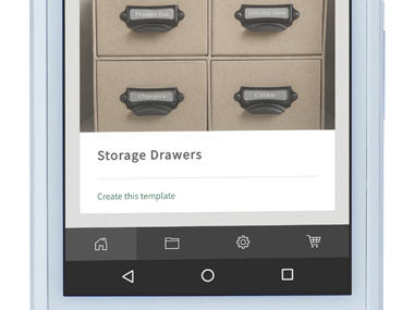 P-touch Design&Print app zoomed in on smartphone, showing one application (Storage Drawers)