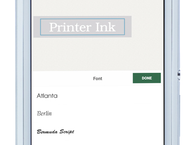 P-touch Design&Print app zoomed in on smartphone, showing label being edited (changing the font)