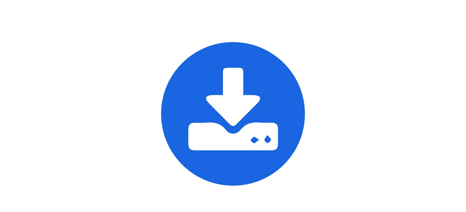 downloads white icon over mid blue circle