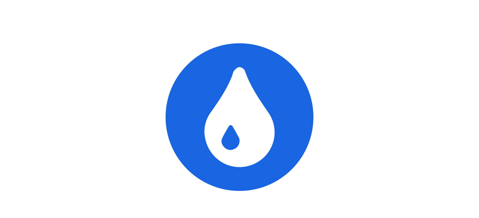 drop white icon over mid blue circle