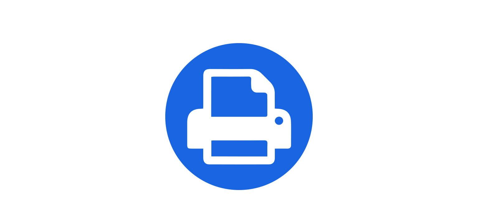 printer white icon over mid blue circle