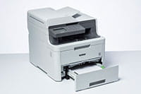 DCP-L3550CDW colour printer with paper tray open