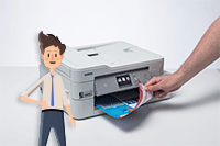 Hand removing double sided printed document from DCP-J1100DW