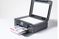 Black inkjet printer with copy/fax lid open - DCP-J772DW