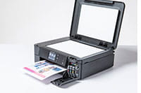 Black inkjet printer with copy/fax lid open - DCP-J772DW