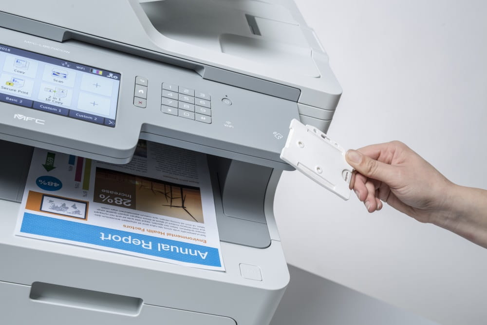 MFP with large LCD screen and colour output, and NFC card
