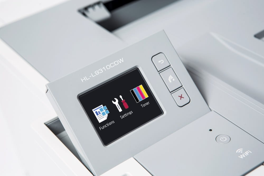 HL-L9310CDW colour laser printer, close up of touchscreen