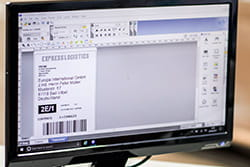 P-touch Editor label design software on a computer monitor