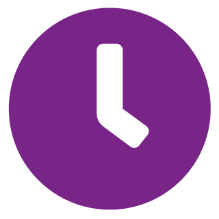 clock icon in purple with transparent background