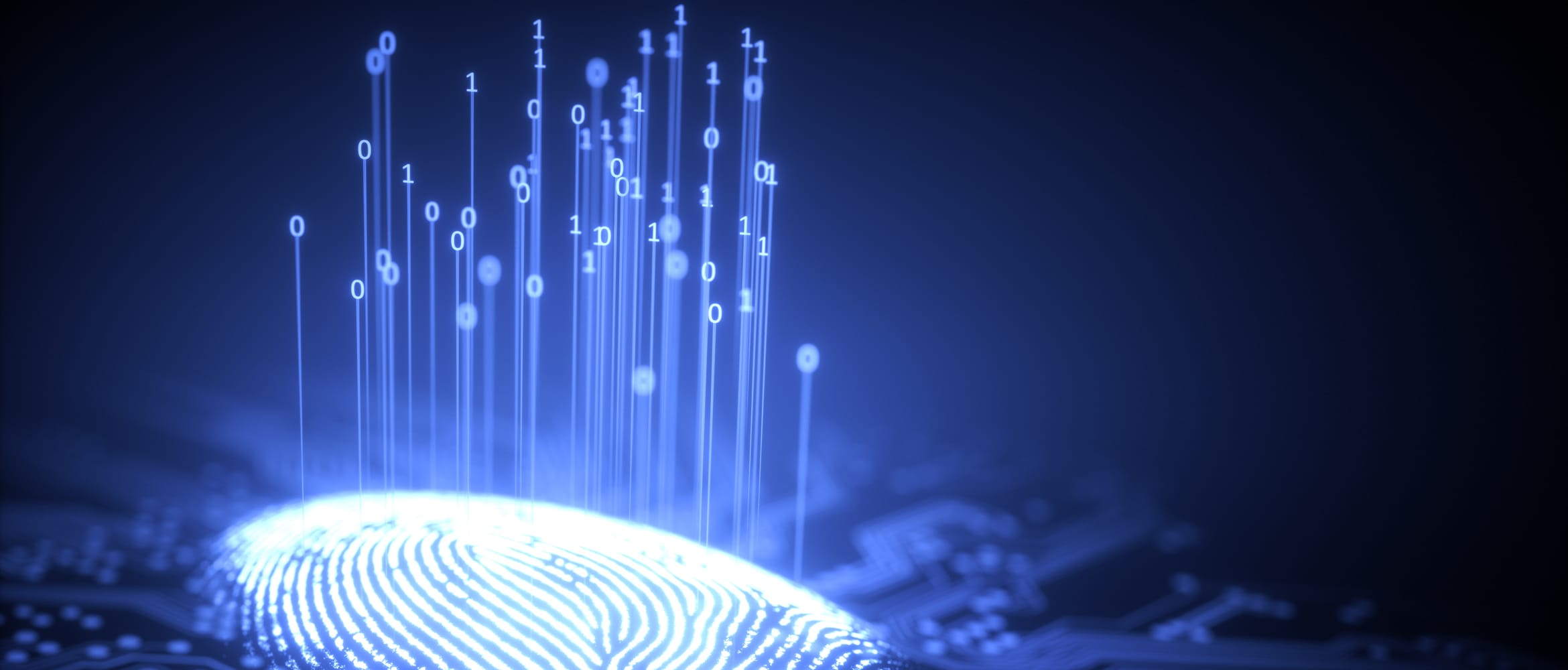 Binary code floating above a finger print to indicate fingerprint recognition technology