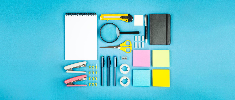 Office stationery neatly organised to improve productivity