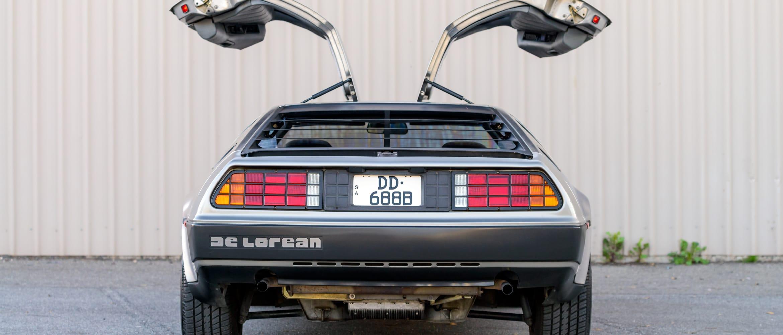 DeLorean with doors open