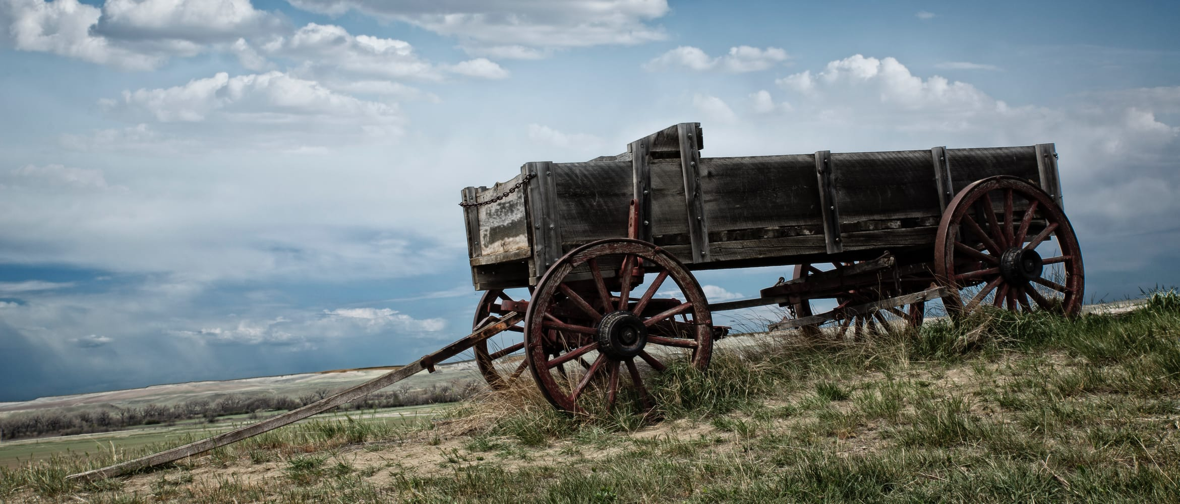 old cart on a hillside