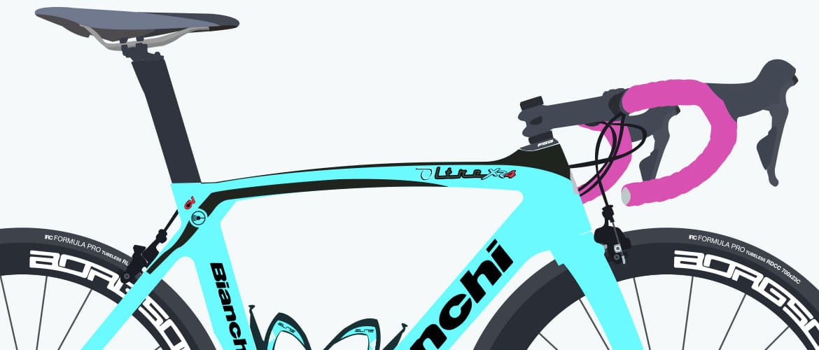 close up illustration of Team OnForm's Bianchi bike