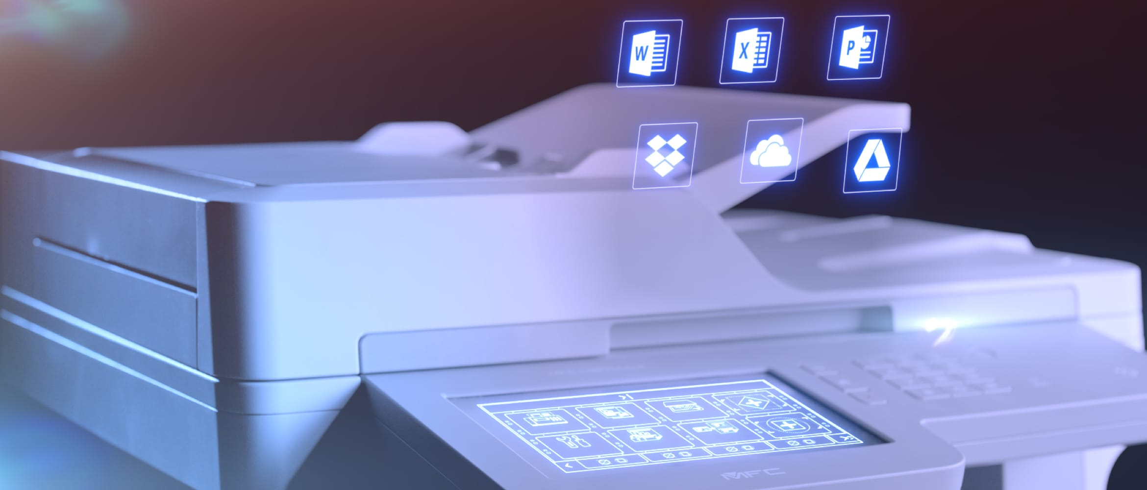 Multifunction printer with Brother Scan to Office and Web Connect compatible app icons