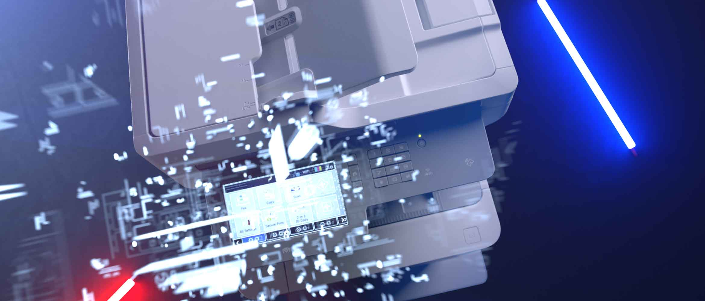 Brother printer with a focus on the user interface