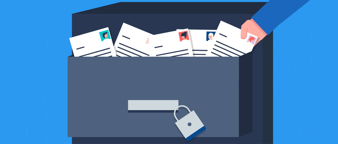illustration of filing cabinet overflowing with documents containing personal data