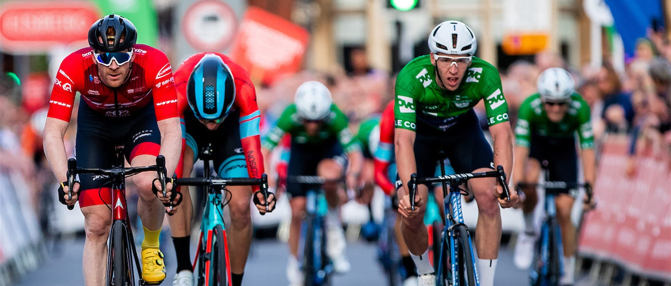 Cyclist Ed Clancy approaching the finish line