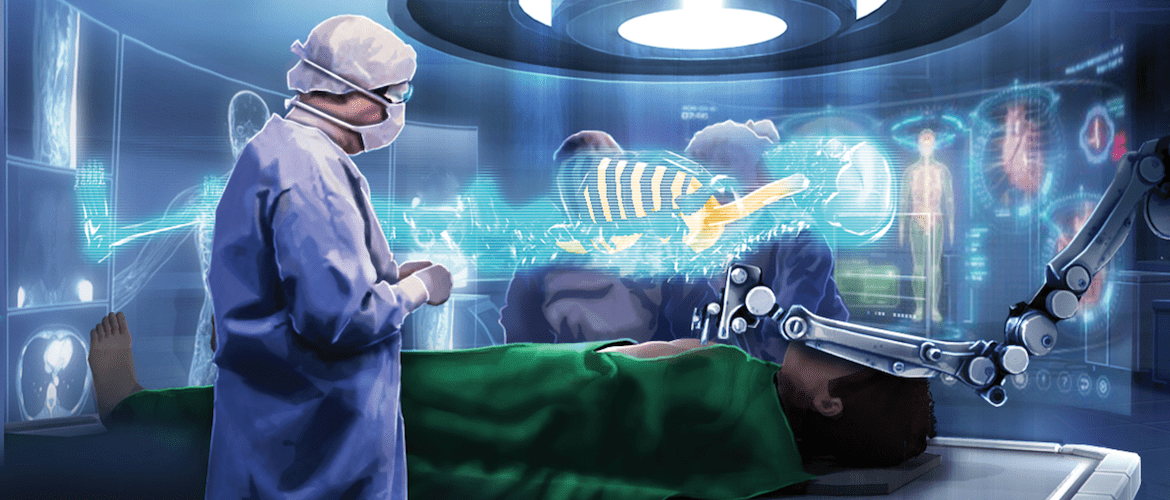 the future of hospital healthcare, a surgeon undertakes an operation assisted by a robot