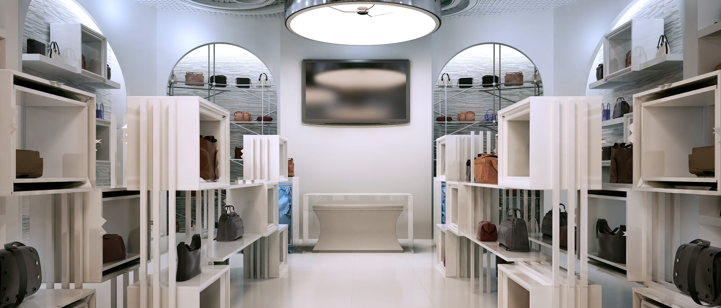 the retail store of the future, modern looking setting with technology for better in-store experiences