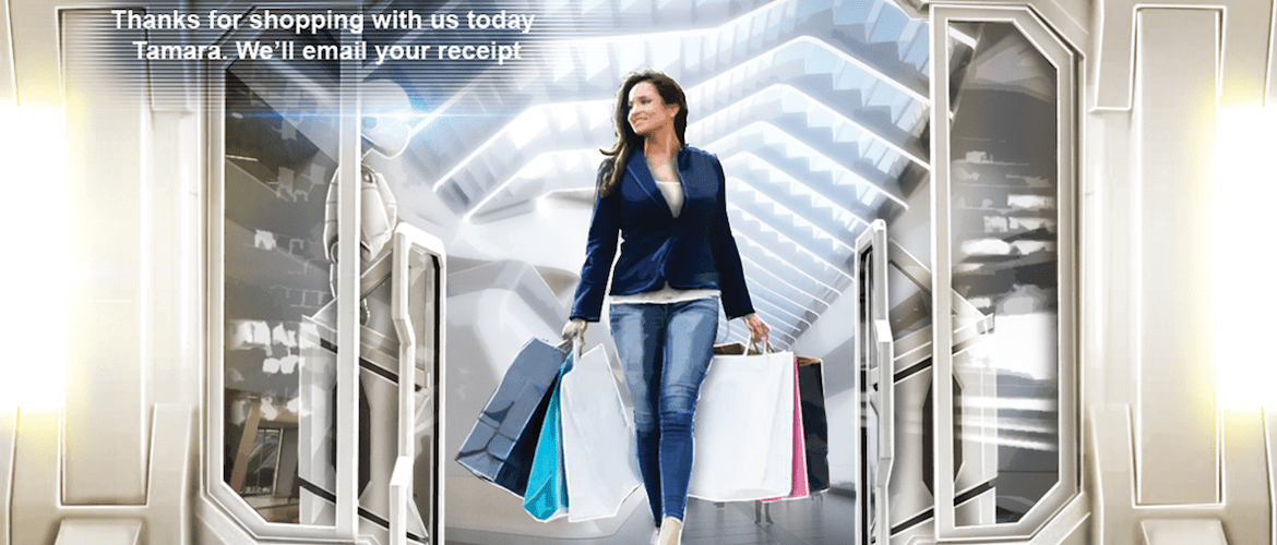 the future of retail, a shopper leaves with bags of shopping