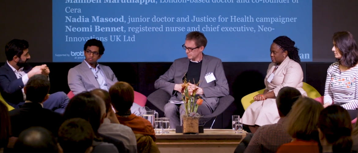 panel of speakers at a Guardian healthcare event