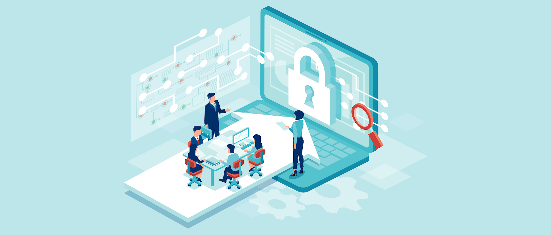 Illustration of a team working designing new software to protect data from cyberattacks