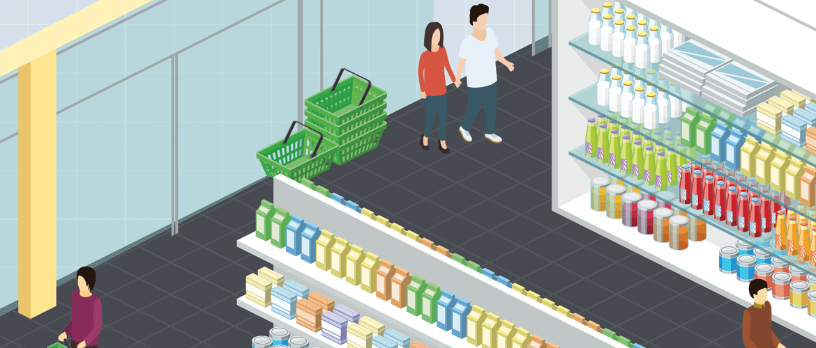 illustration of the modern convenience store, showing technology in place to provide a better experience