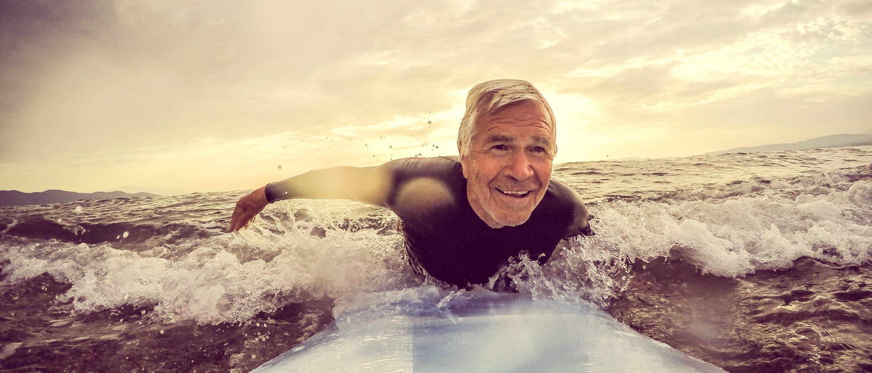 older man surfing