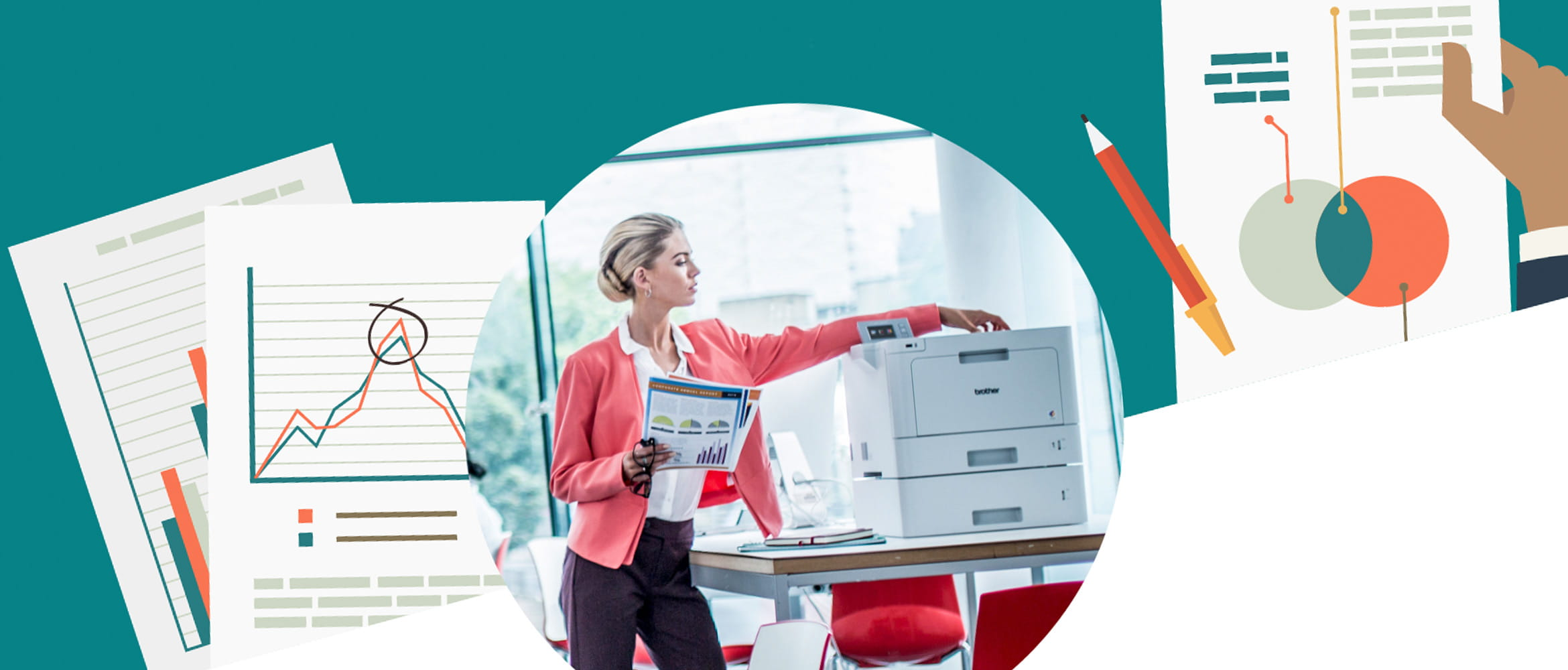 Illustration of printed documents and a photograph of a lady taking paper from a printer